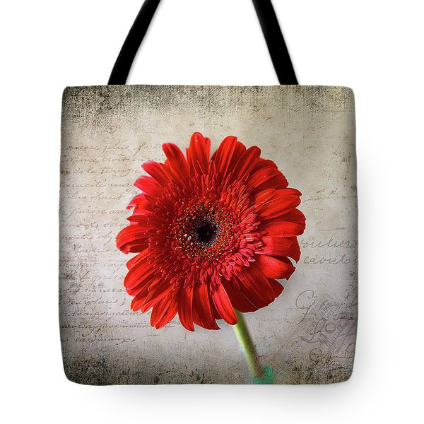 Tote Bag featuring the photograph Red Gerbera by Milena Ilieva