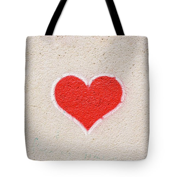 Red Heart Painted On A Wall, Message Of Love. Tote Bag