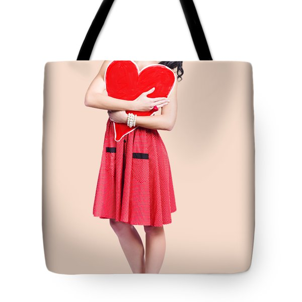 Red Heart Woman Tote Bag