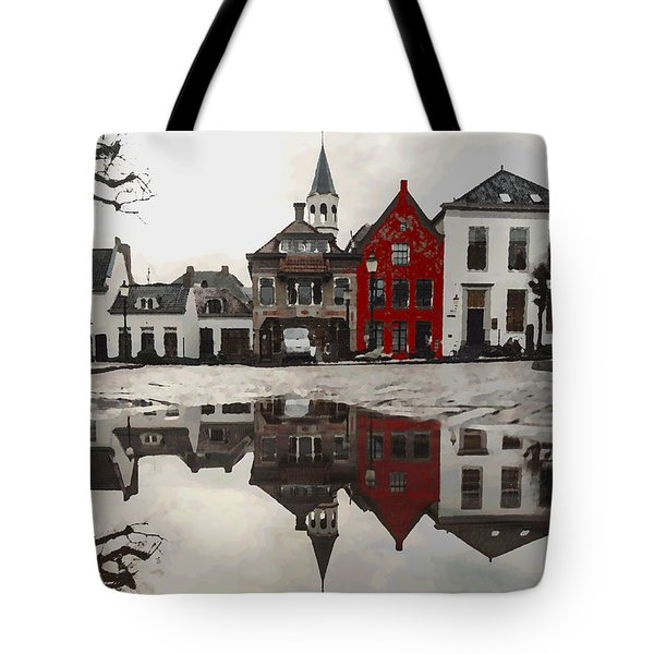 Tote Bag featuring the digital art Red House With Reflection by Shelli Fitzpatrick