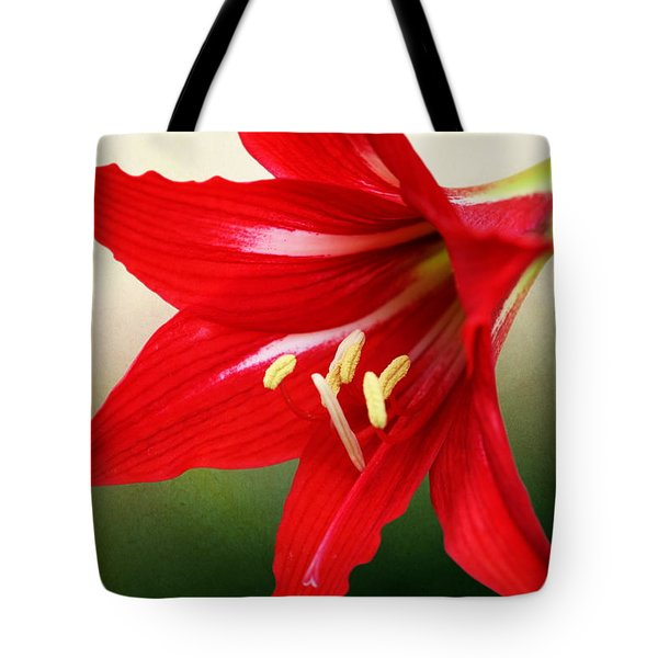 Red Lily Flower Tote Bag