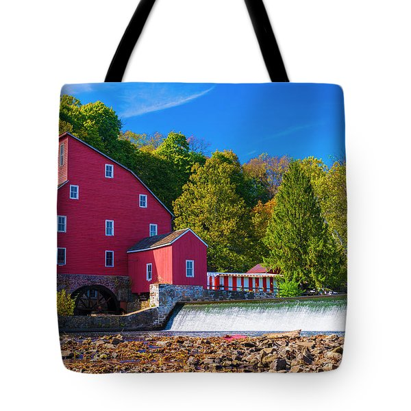 Tote Bag featuring the photograph Red Mill Photograph by Louis Dallara