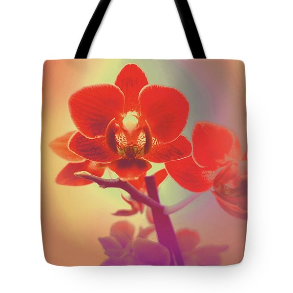 Tote Bag featuring the mixed media Red Orchid  by Rachel Hannah