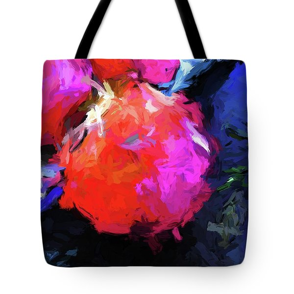 Red Pomegranate In The Blue Light Tote Bag