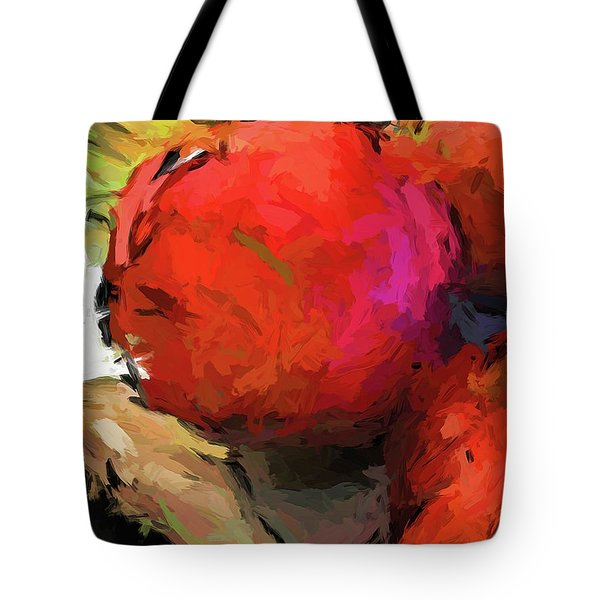 Red Pomegranate In The Yellow Light Tote Bag
