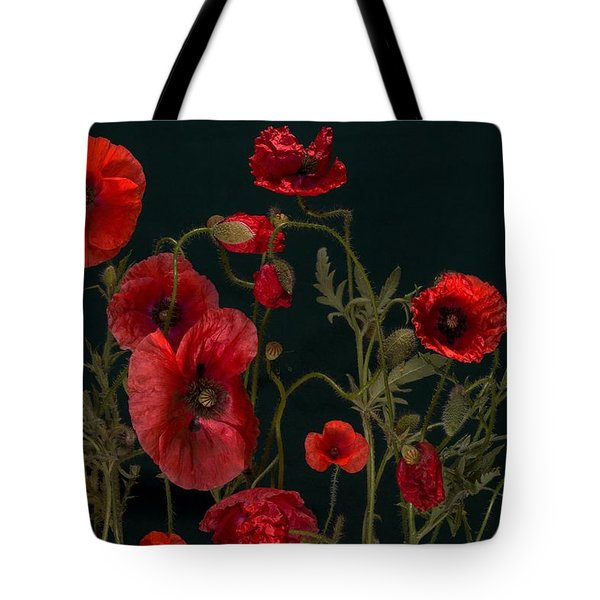 Red Poppies On Black Tote Bag