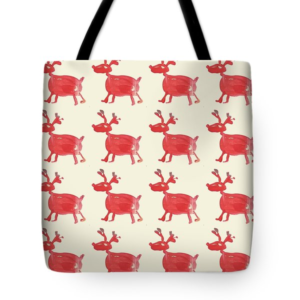 Tote Bag featuring the painting Red Reindeer Pattern by Maria Langgle