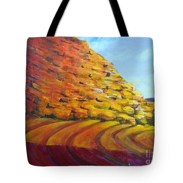 Tote Bag featuring the painting Red Rocks by Saundra Johnson