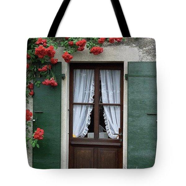 Red Rose Door Tote Bag