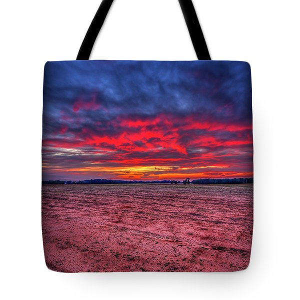 Red Sunset 3 Cotton Field Agriculture Farming Landscape Art Tote Bag