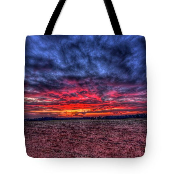Red Sunset Cotton Field Agriculture Farming Landscape Art Tote Bag