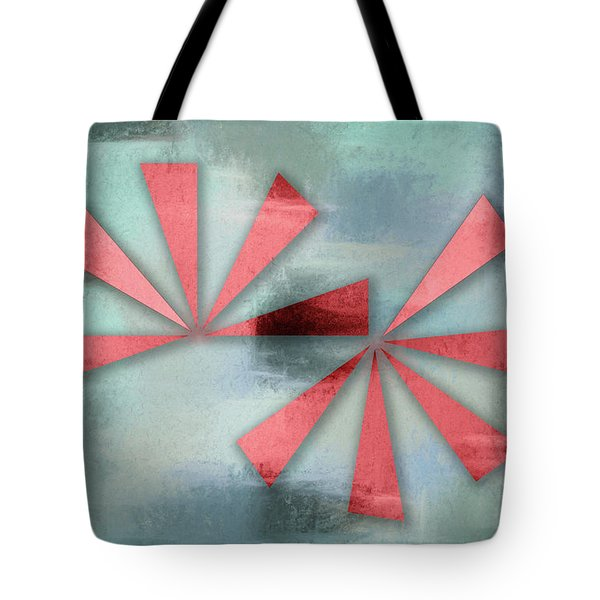 Red Triangles On Blue Grey Backdrop Tote Bag