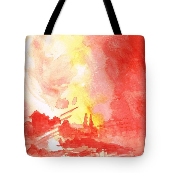 Red Village Abstract 1 Tote Bag