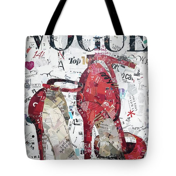 Red Vogue Shoes Tote Bag