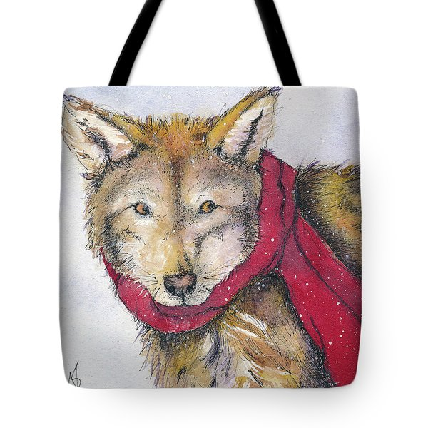 Red Wolf And Scarf Tote Bag