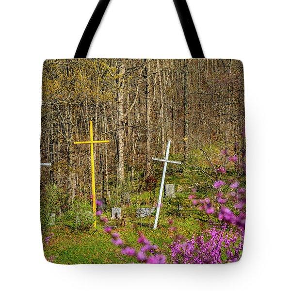 Redbud And Crosses  Tote Bag
