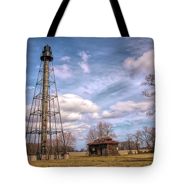 Tote Bag featuring the photograph Reedy Island Range Rear Light by Kristia Adams
