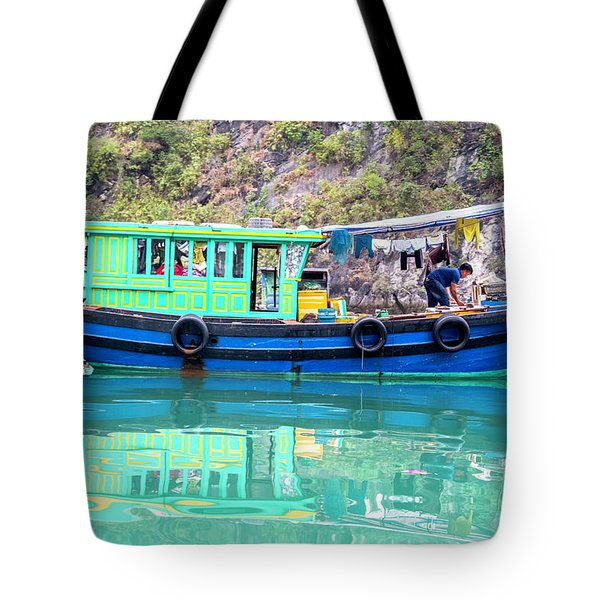 Reflections In Halong Bay, Vietnam Tote Bag