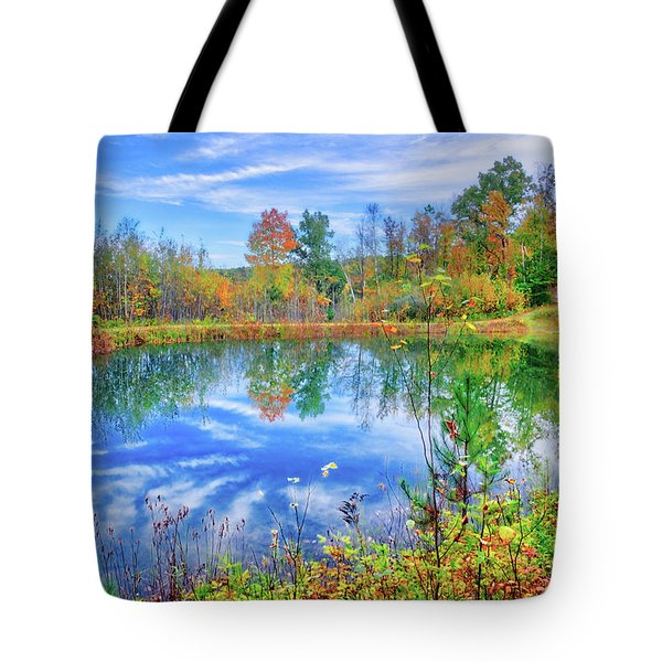 Tote Bag featuring the photograph Reflecting On Fall At The Pond by Lynn Bauer