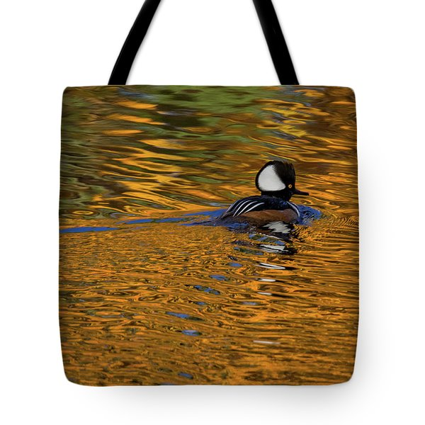 Reflecting With Hooded Merganser Tote Bag