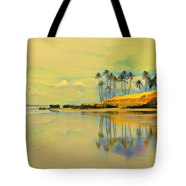 Reflection Of Coastal Palm Trees Tote Bag