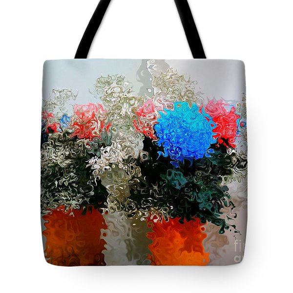 Reflection Of Flowers In The Mirror In Van Gogh Style Tote Bag