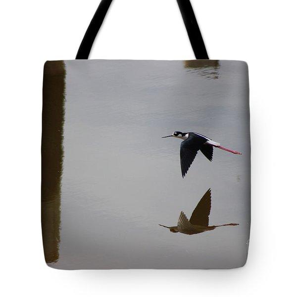 Reflection Of The Salton Sea Black Neck Stilt Flying Tote Bag