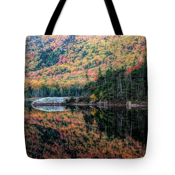 Reflection On Beaver Pond Of New Hampshire Fall Colors Tote Bag