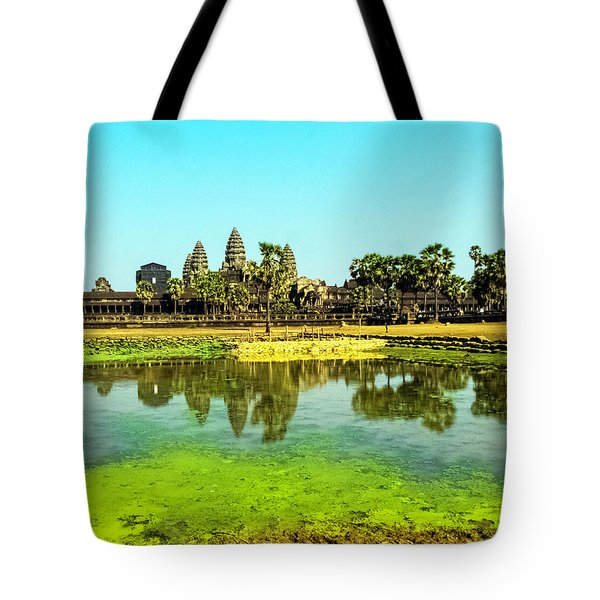 Reflections At Angkor Wat, Cambodia Tote Bag