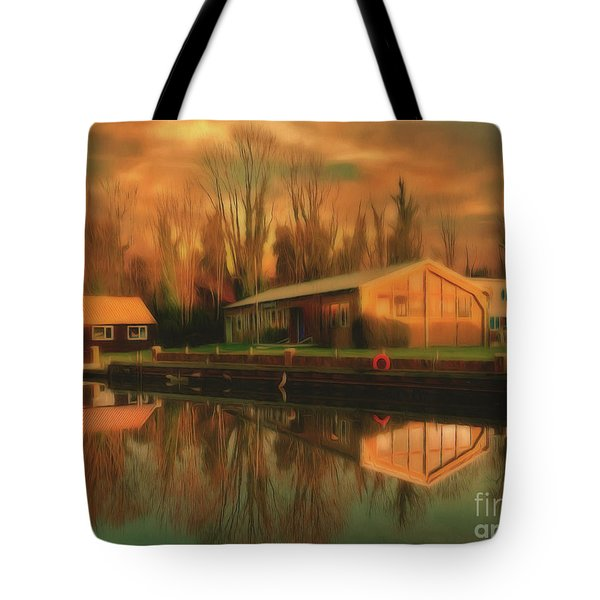 Tote Bag featuring the photograph Reflections On The Wey by Leigh Kemp