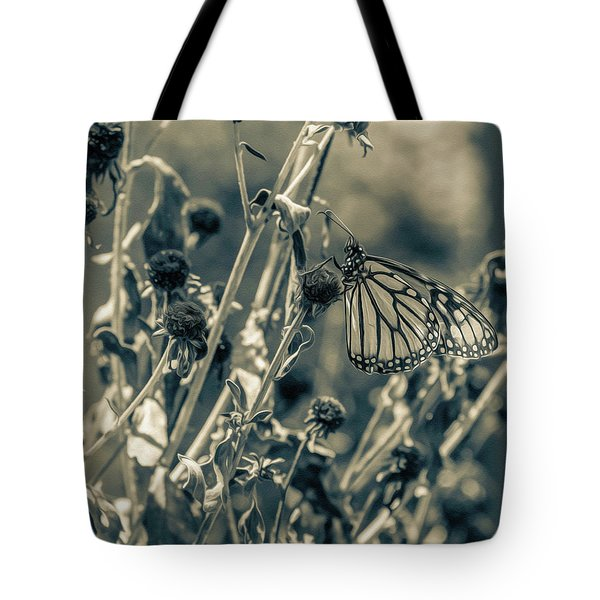 Tote Bag featuring the photograph Resting Butterfly Bw by Keith Smith