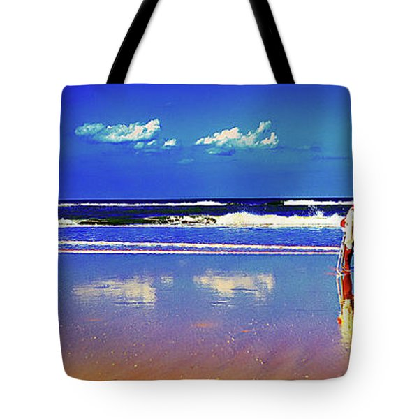 Tote Bag featuring the photograph Retieiees Lawn Chairs On The Beach Surf  by Tom Jelen
