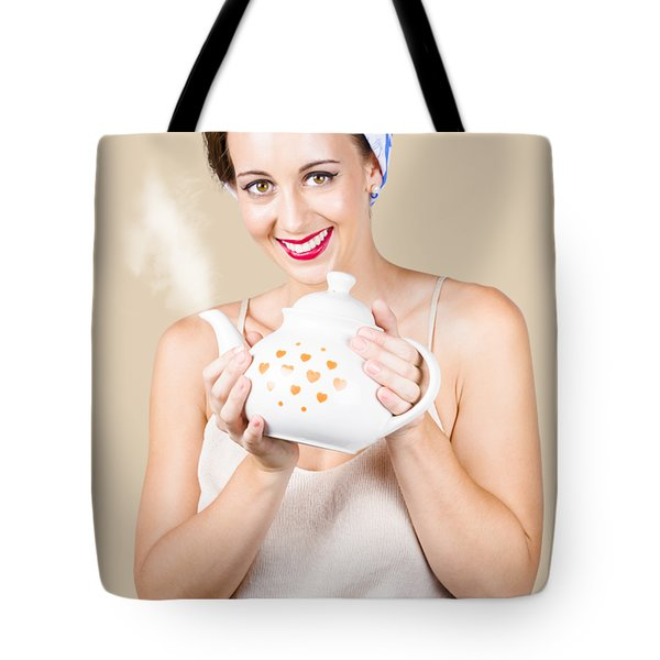 Retro Housewife With Teapot Tote Bag