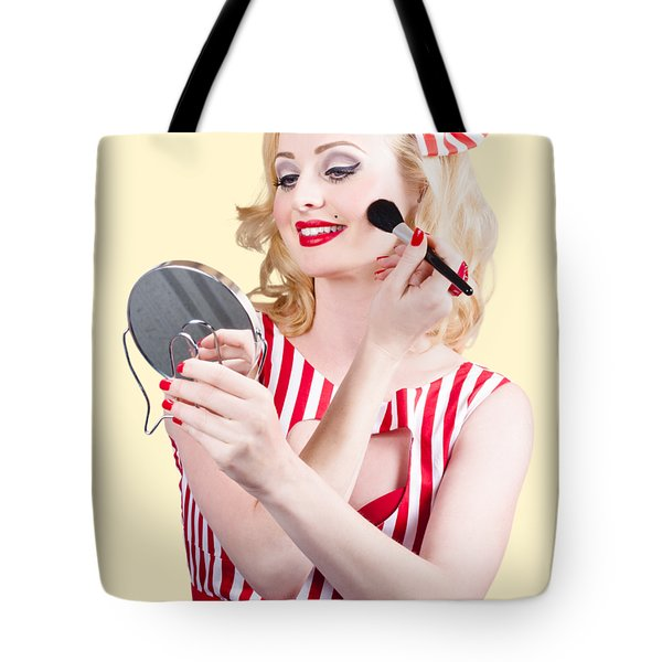 Retro Pin-up Woman Doing Beauty Make-up Tote Bag
