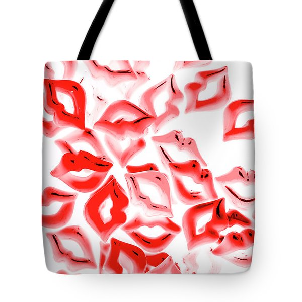 Retro Red Lips Tote Bag