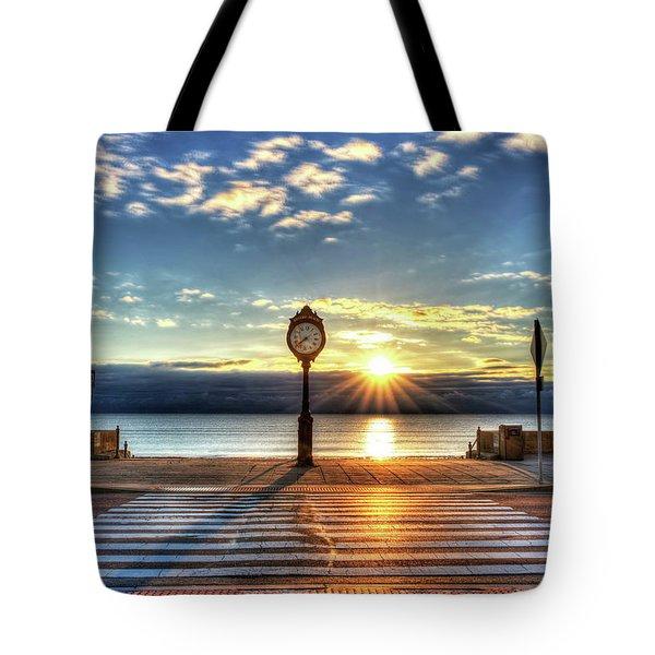 Revere Beach Clock At Sunrise Angled Long Shadow Revere Ma Tote Bag