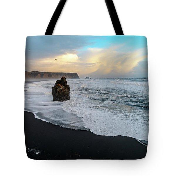 Reynisfjara Beach At Sunset Tote Bag