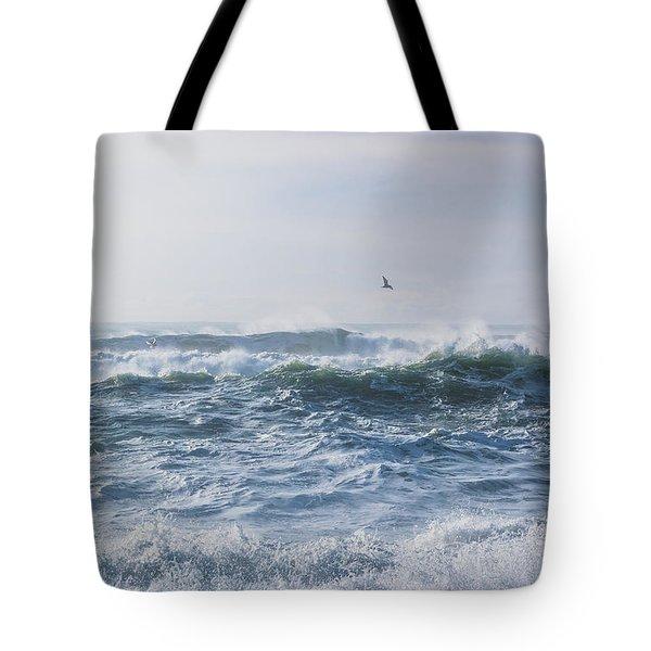 Reynisfjara Seagull Over Crashing Waves Tote Bag