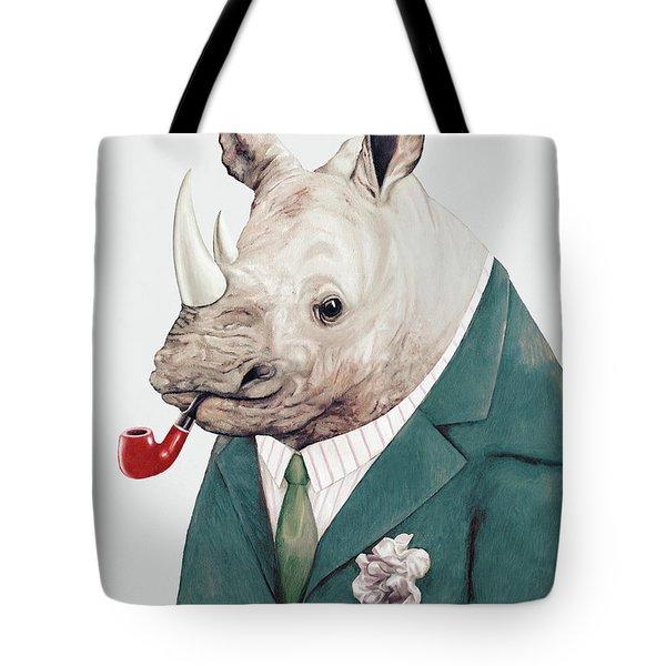 Rhino In Teal Tote Bag