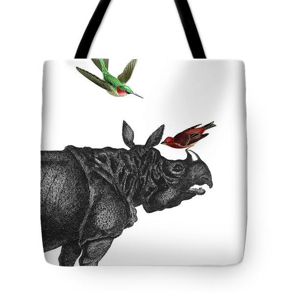 Rhinoceros With Birds Art Print Tote Bag