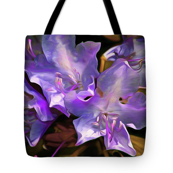 Tote Bag featuring the mixed media Rhododendron Glory 17 by Lynda Lehmann