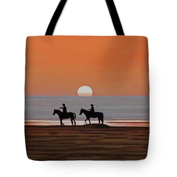 Riding Sunset Beach Tote Bag