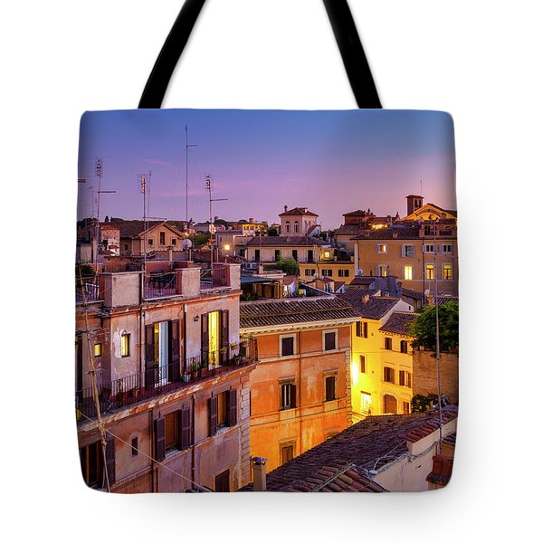 Tote Bag featuring the photograph Rione Pigna's Rooftops by Fabrizio Troiani