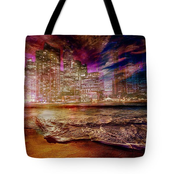 Rising Tide On The Hudson Montage Tote Bag