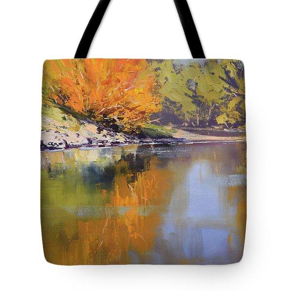 River Bank Reflections Tote Bag