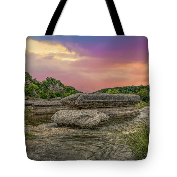 River Erosion At Sunset Tote Bag