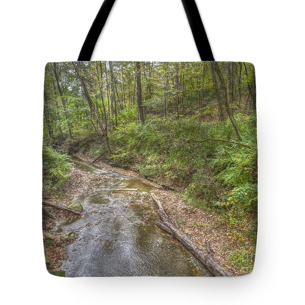 River Flowing Through Pine Quarry Park Tote Bag