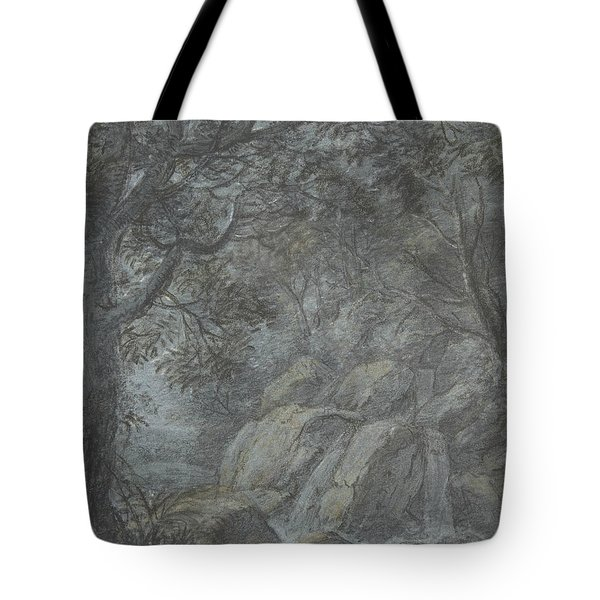 River Landscape With Mountain Stream Tote Bag