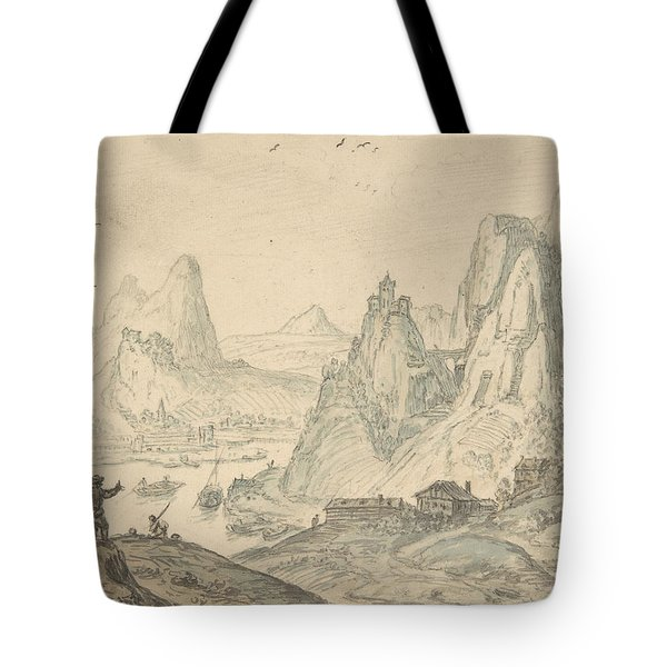 River Landscape With Mountains Tote Bag
