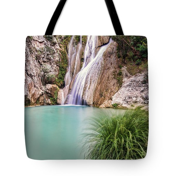 Tote Bag featuring the photograph River Neda Waterfalls by Milan Ljubisavljevic